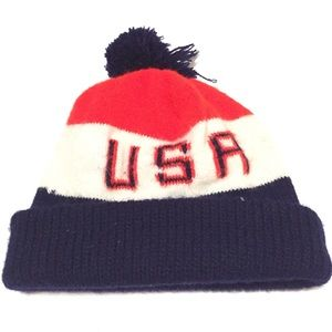 Vintage USA BEANIE HAT red white blue spellout